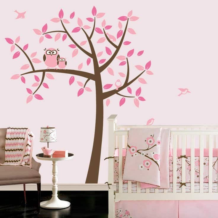 Owl themed nursery for baby girl