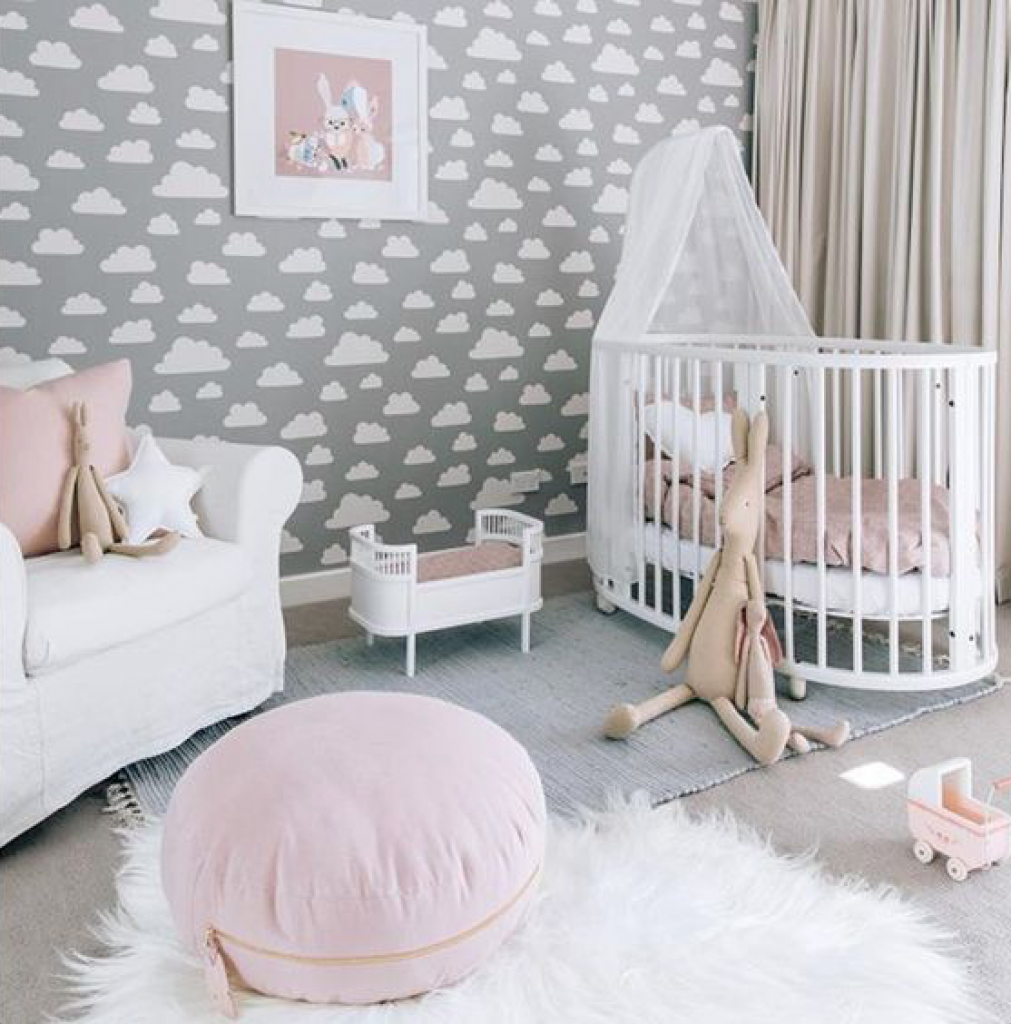 Cloud theme nursery for baby girl room