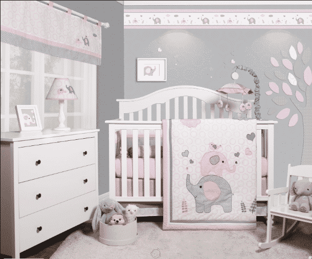 gray and pink elephant baby girl room