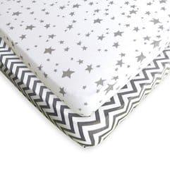 mini crib sheets gray stars