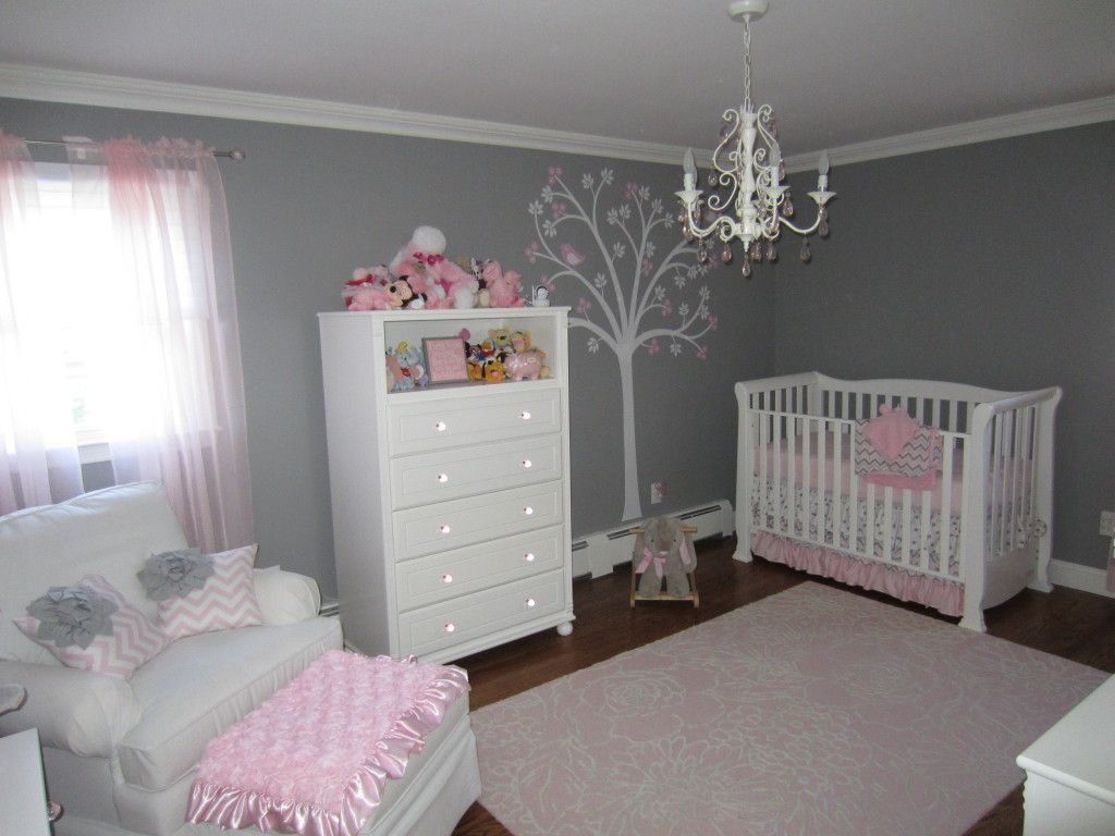 pink and gray nursery, gray and pink