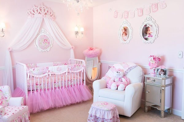 Princess baby girl nursery theme.