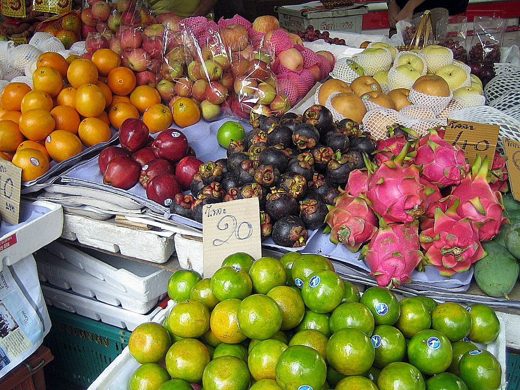 Fruit market in Thailand, exotic fruits in Thailand.